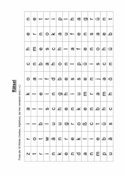 Wörterrätsel Verben und Adjektive