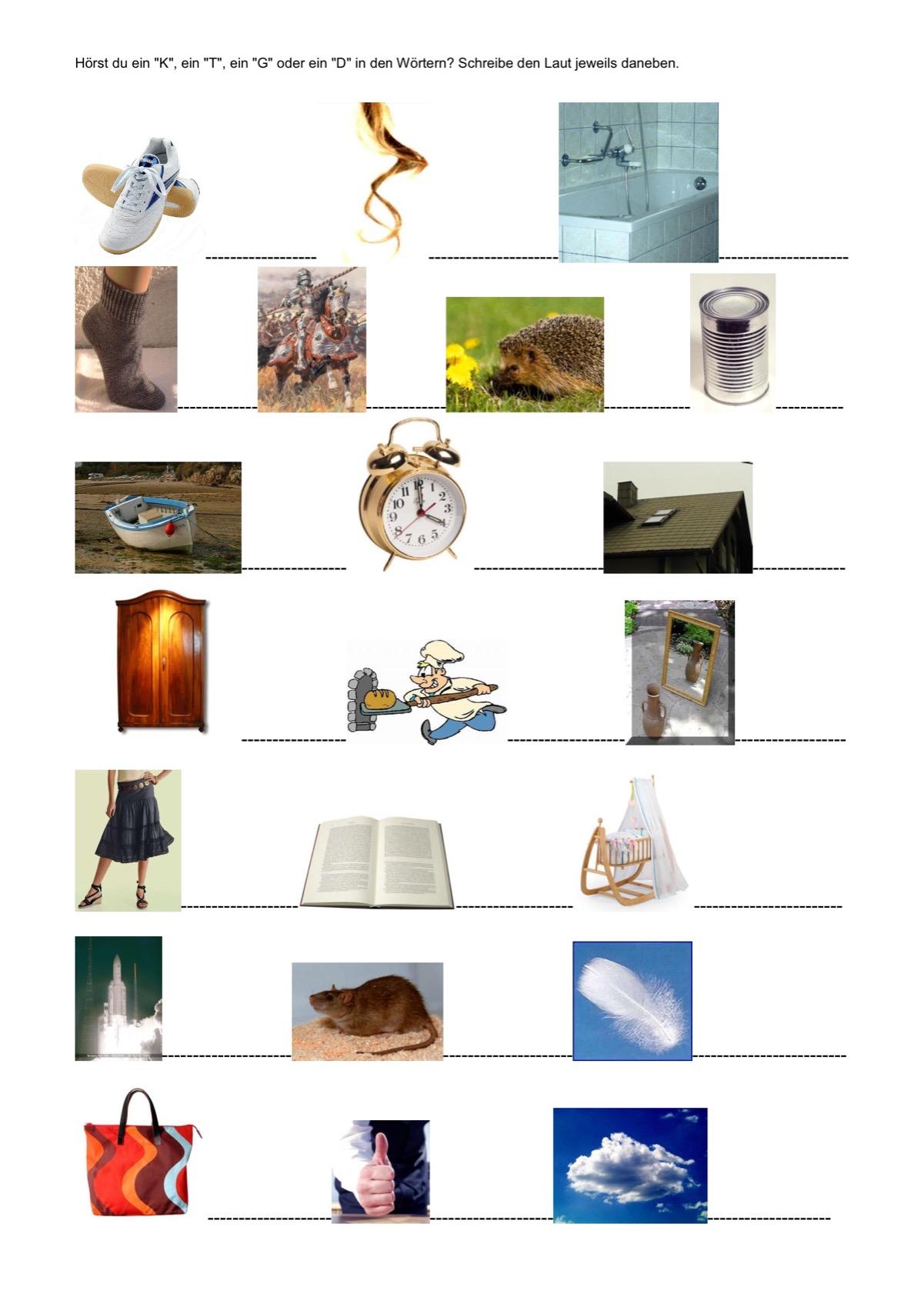 Bilder mit /K/T/G/D/ - Kindersprache - madoo.net