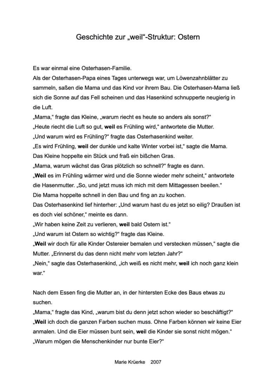 """Geschichte zu Ostern für """"weil"""""""
