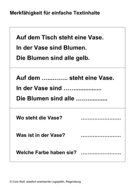 Merkfähigkeit für einfache Textinhalte
