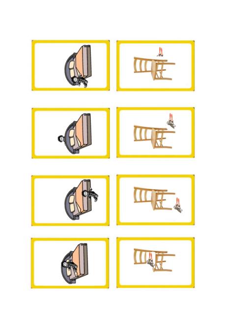 Möbelquartett zum Üben von Präpositionen