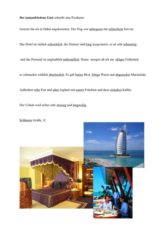 Antonyme finden – Urlaubsgrüße
