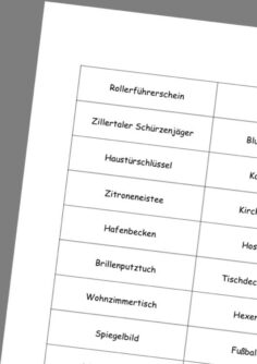 Wortkarten für ZAP-Wahrnehmung