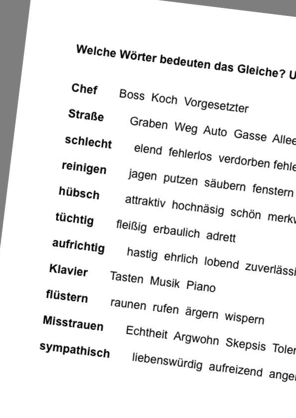 Sammlungen mit Synonyme aus einer Auswahl finden - Aphasie - madoo.net