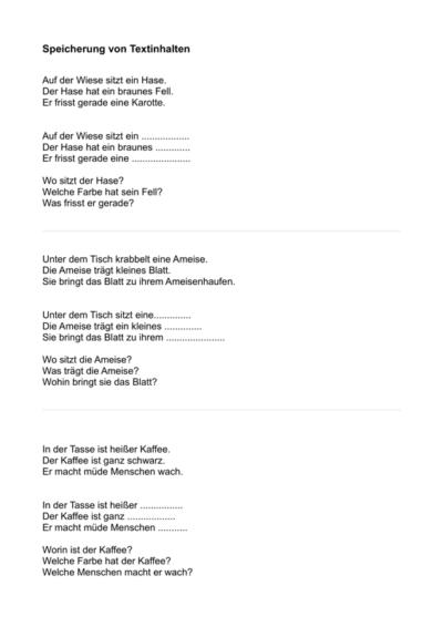Merkfähigkeit für einfache Textinhalte 2