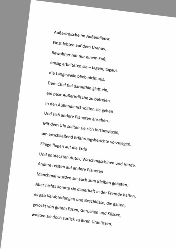 Gedicht: Außerirdische im Außendienst