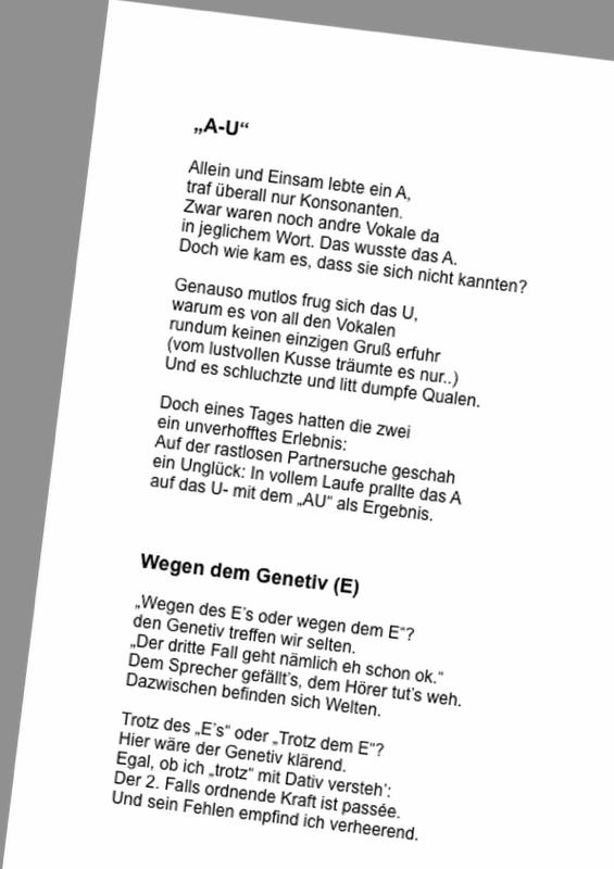 Fester Vokaleinsatz mit Gedichten