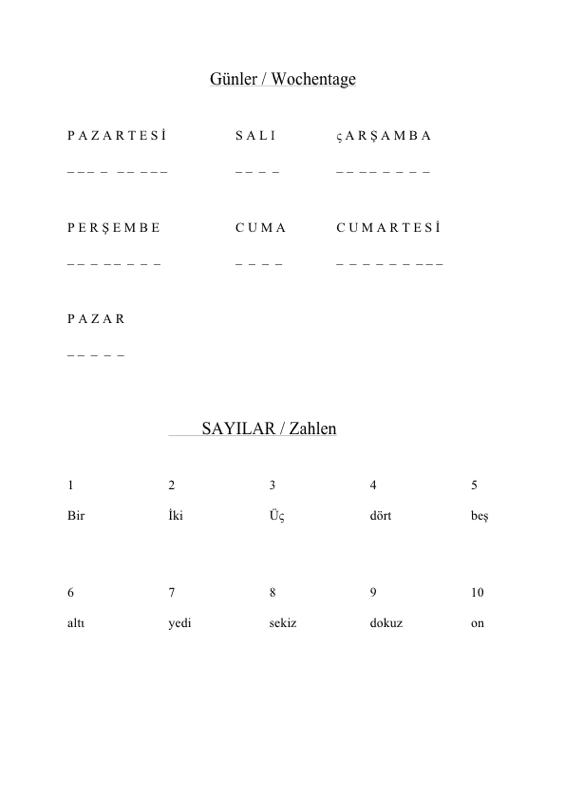 Wochentage und Zahlen in türkischer Sprache