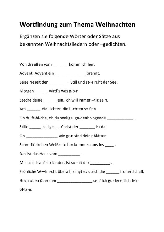 arbeitsblatt vorschule 187 weihnachten l252ckentext