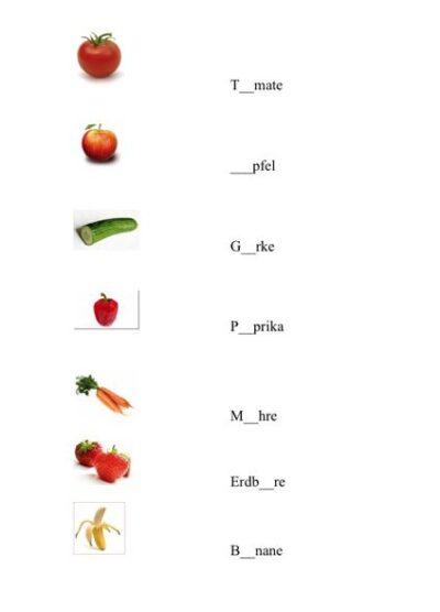 Vokal einsetzen Obst und Gemüse