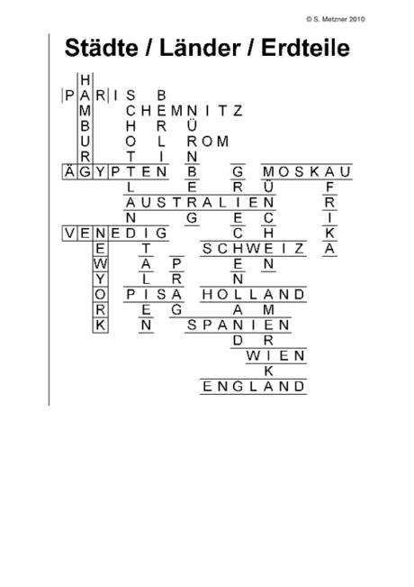Kreuzworträtsel Städte – Länder – Erdteile
