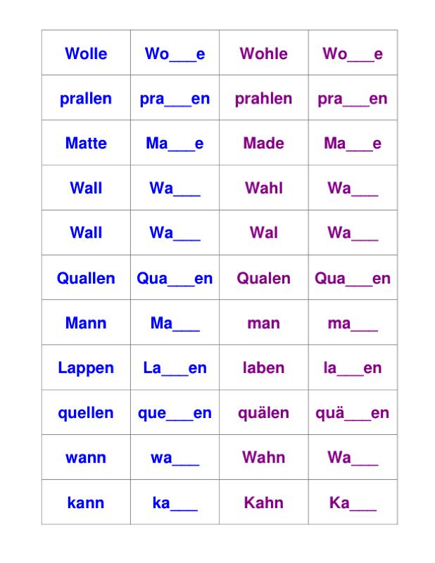 Vokaldifferenzierung kurzer und langer Vokal - LRS - madoo.net