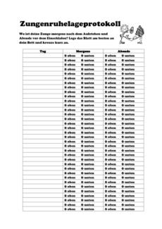 Protokollbogen: Zungenruhelage