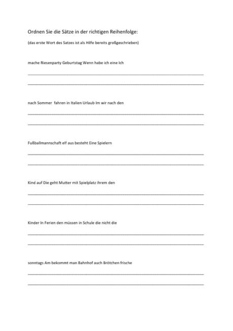 Aphasietherapie: Satzbau