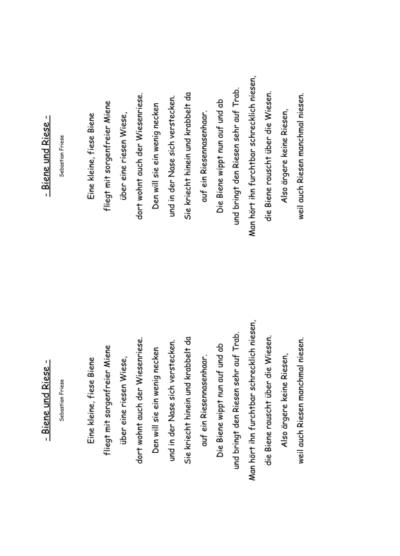 Gedicht: Biene und Riese