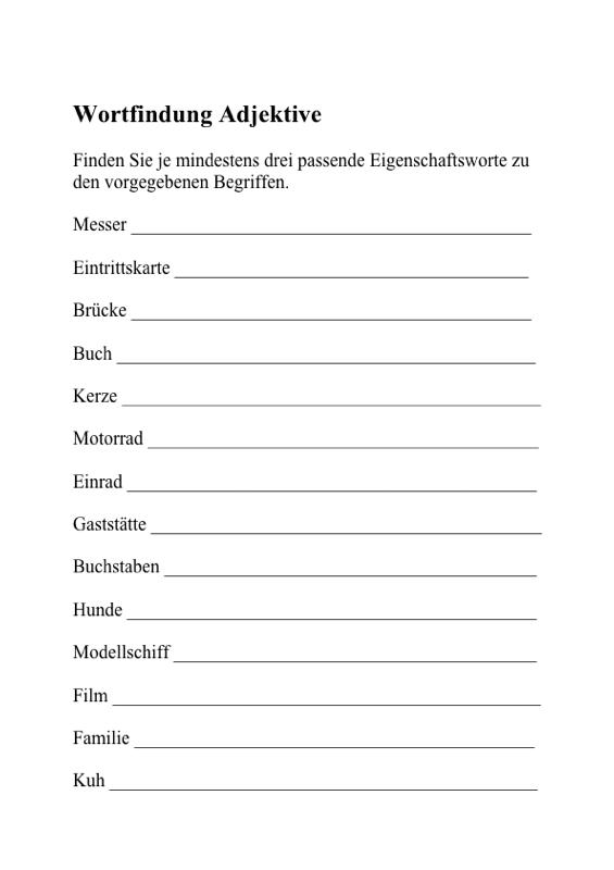 Sammlungen mit Wortfindung: Adjektive - Aphasie - madoo.net