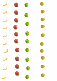 Ansaugübung: Obstkärtchen mit Korb