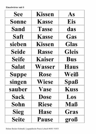 Wortkarten mit [s]