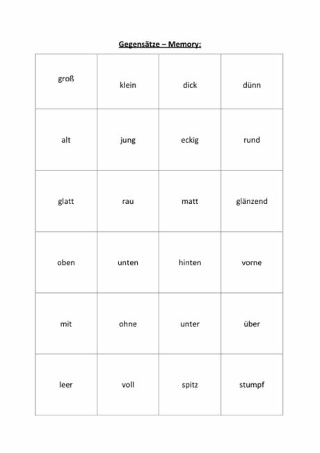 Wortkarten: Gegensätze-Memory