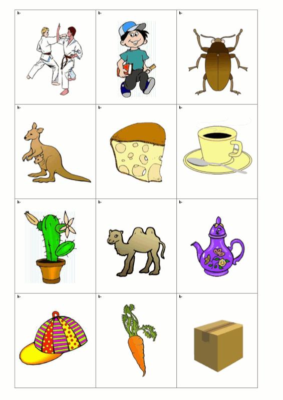 Sammlungen mit Bildkarten [k] - Dyslalie - madoo.net