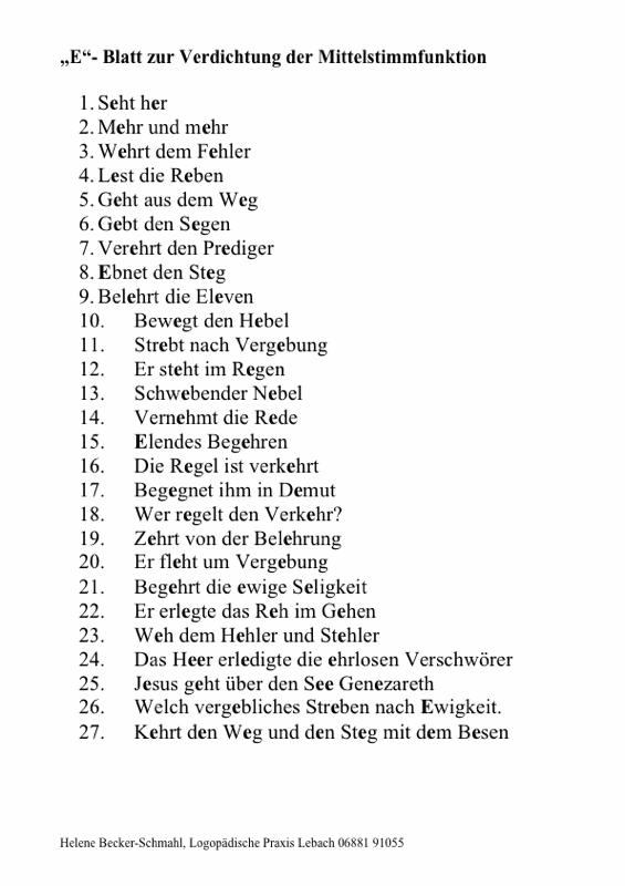 [e:] Blatt (Wortliste mit vielen e)