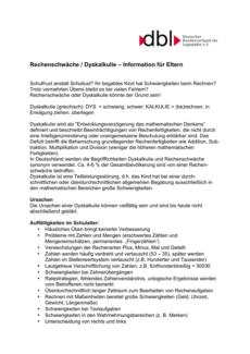 Eltern-Informationen zur Dyskalkulie