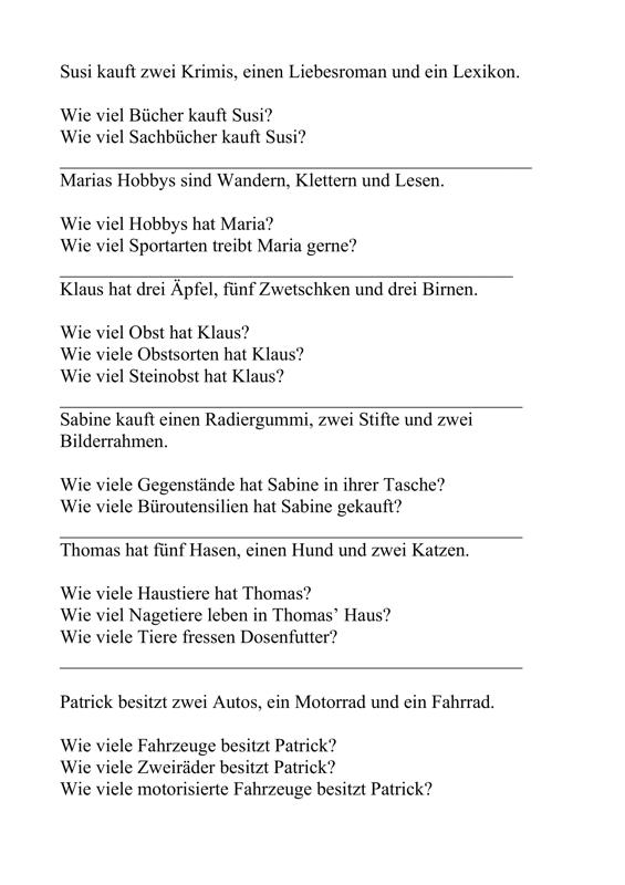 Sprachverständnis-Übungen