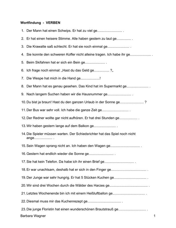 Sammlungen mit Wortfindung: Verben - Aphasie - madoo.net