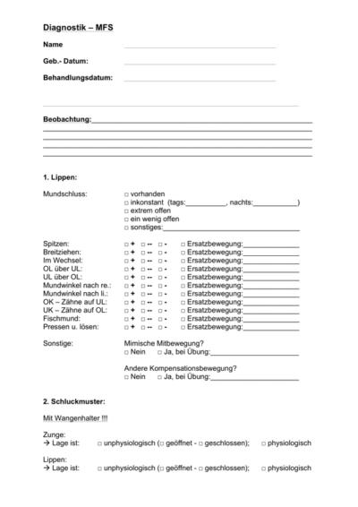 Diagnostikbogen MFT