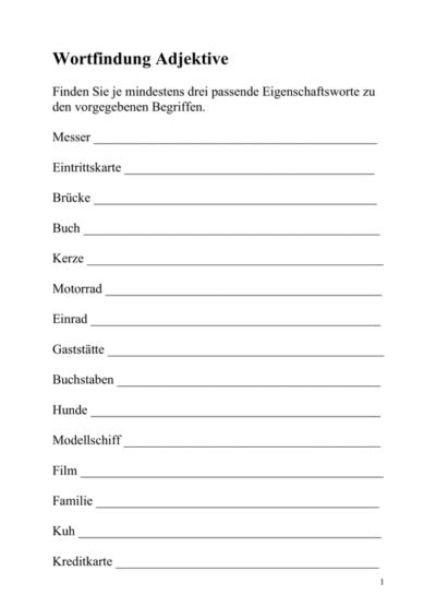 Wortfindung zu Adjektiven (2)