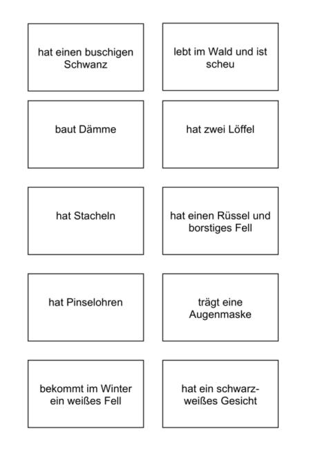 Bildkarten und Wortkarten zu heimischen Tieren