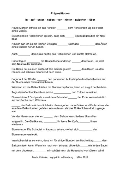"Präpositionen zum Thema ""Frühling"""