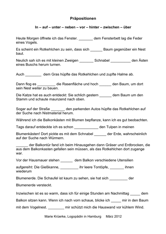 Arbeitsblatt Präpositionen Regeln : Präposition madoo seite