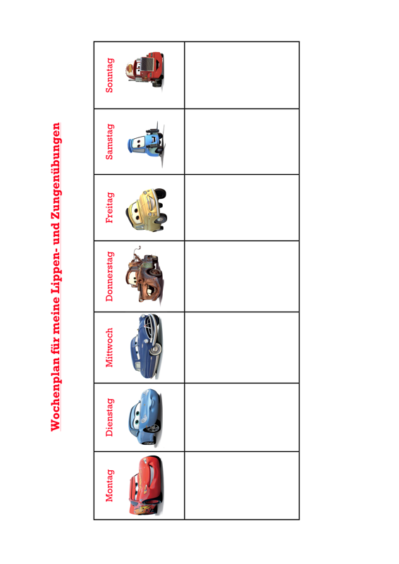 Mft Wochenplan Cars Kindersprache Madoo Net