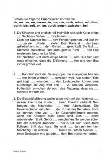 Aphasie: Arbeitsblatt Präpositionen