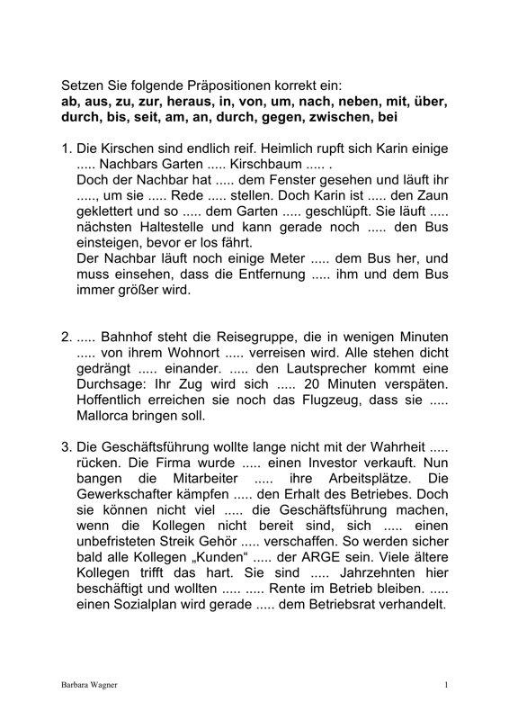 Aphasie: Arbeitsblatt Präpositionen - Aphasie - madoo.net