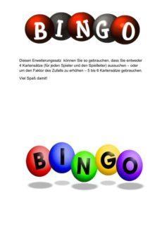 Erweiterungssatz zum Vierer-Mini-Bingo