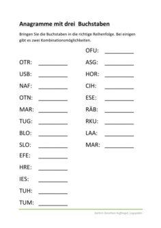 Anagramme aus drei Buchstaben