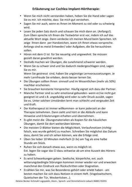 Infoblatt für Patienten mit Cochleaimplantat