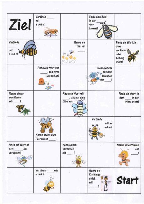 Arbeitsblatt Bienen Grundschule : Spiel bienchenspiel bei sigmatismus therapiematerial