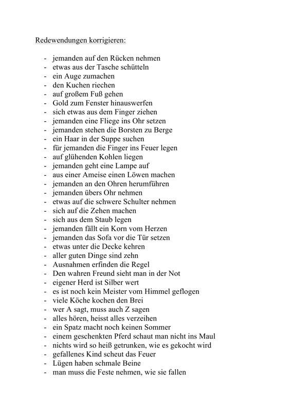 Sammlungen mit Aphasie: Redewendungen korrigieren - Aphasie - madoo.net