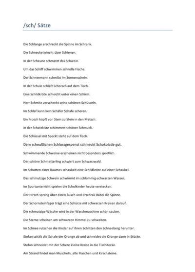 Schetismus: Sätze mit /sch/