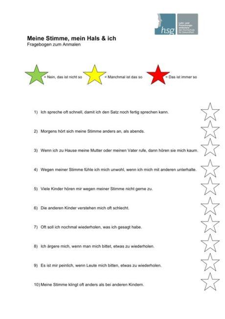 Stimmbewertungsbogen für Kinder