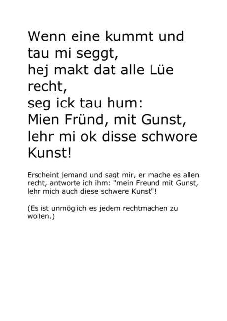 Text: Plattdeutscher Klassiker: 'Wenn eine kummt und tau mi seggt…'