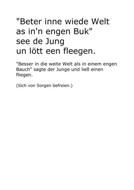 "Text: Plattdeutscher Klassiker ""Beter inne wiede Welt…"""
