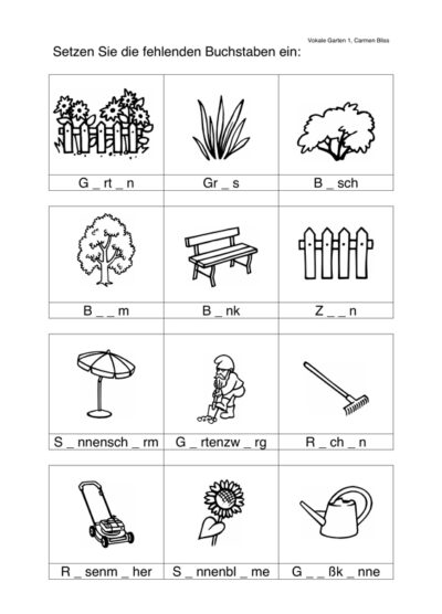 Aphasie: Vokale einsetzen im semantischen Feld Garten