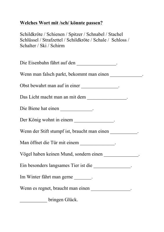 Semantik und Initiallaut /sch/