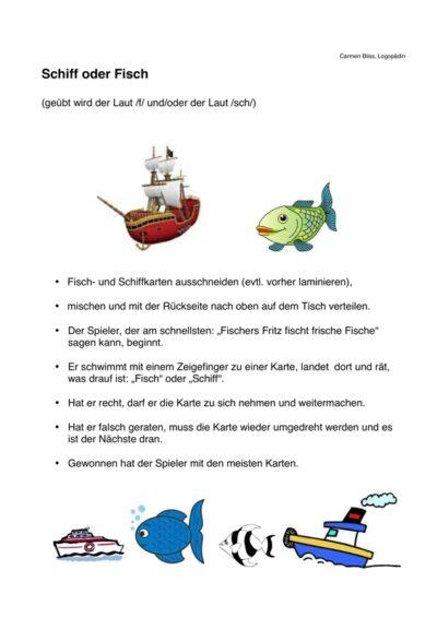 Spiel: Schiff oder Fisch?
