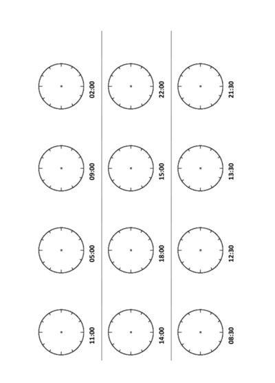 Uhrzeiten: Analoge Uhrzeiten eintragen