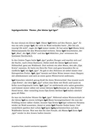 Inputgeschichte Igel